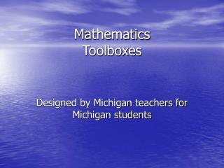 Mathematics Toolboxes