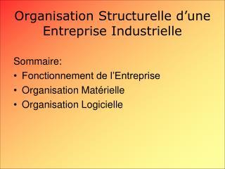 Organisation Structurelle d'une Entreprise Industrielle