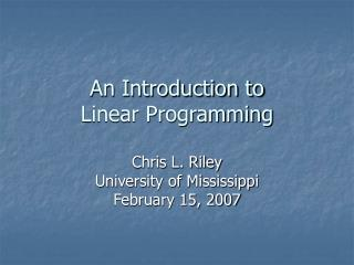 An Introduction to Linear Programming