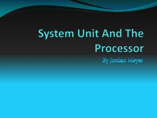 System Unit And The Processor