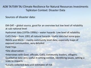 Sources of disaster data: