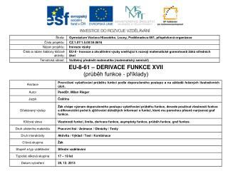 EU-8-61 – DERIVACE FUNKCE XVII (průběh funkce - příklady)