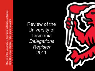 Review of the University of Tasmania Delegations Register