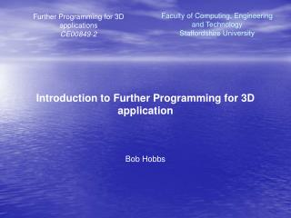 Further Programming for 3D applications CE00849-2