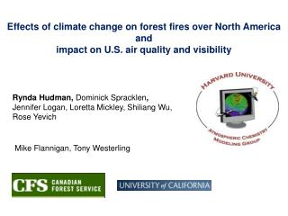 Effects of climate change on forest fires over North America and impact on U.S. air quality and visibility