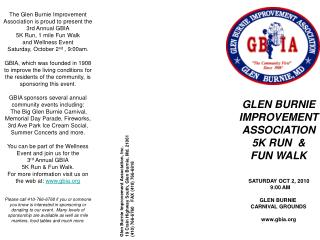 GLEN BURNIE IMPROVEMENT ASSOCIATION   5K RUN  & FUN WALK