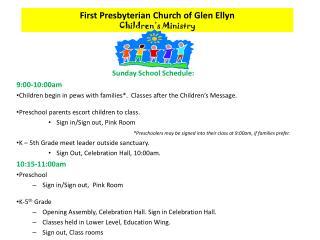 First Presbyterian Church of Glen Ellyn Children's Ministry