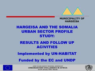 HARGEISA AND THE SOMALIA URBAN SECTOR PROFILE STUDY:  RESULTS AND FOLLOW UP ACIVITIES