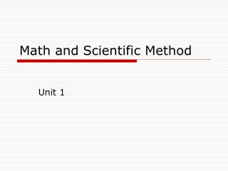 Math and Scientific Method