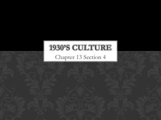 1930's Culture