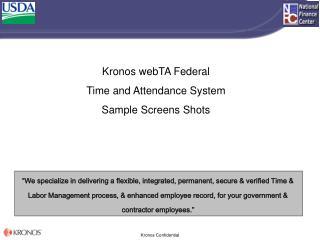 Kronos webTA Federal Time and Attendance System Sample Screens Shots
