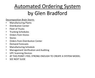 Automated Ordering System by Glen Bradford