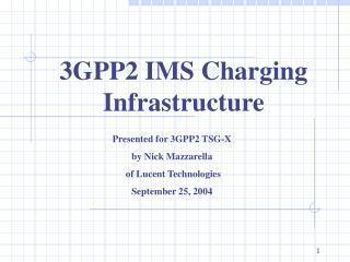 3GPP2 IMS Charging Infrastructure