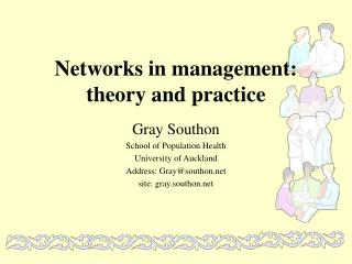 Networks in management: theory and practice