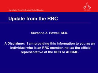 Update from the RRC