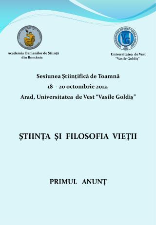 Sesiunea Ştiinţifică de Toamnă  18  - 20 octombrie 2012,