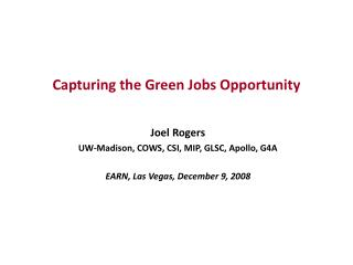 Capturing the Green Jobs Opportunity
