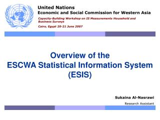 Overview of the ESCWA Statistical Information System  (ESIS)