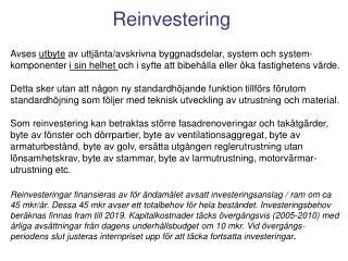 Reinvestering