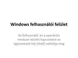 Windows felhasználói felület