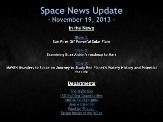 Space News Update - November 19, 2013 -