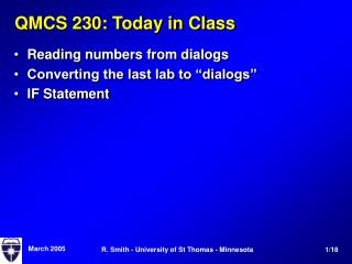 QMCS 230: Today in Class