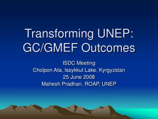 Transforming UNEP: GC/GMEF Outcomes