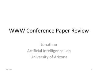 WWW Conference Paper Review