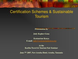 Certification Schemes & Sustainable Tourism