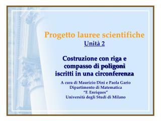 Progetto lauree scientifiche