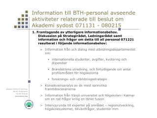 Information till BTH-personal forts. 1
