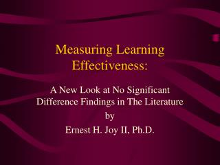 Measuring Learning Effectiveness: