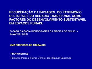 UMA PROPOSTA DE TRABALHO