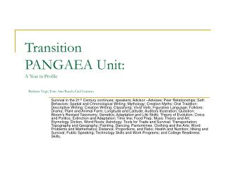 Transition PANGAEA Unit: A Year in Profile Barbara Vogt; Toni Ann Rasch; Gail Luciano