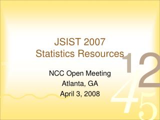 JSIST 2007 Statistics Resources