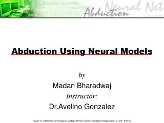 Abduction Using Neural Models