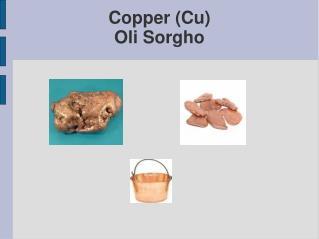 Copper (Cu) Oli Sorgho