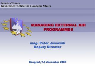 MANAGING EXTERNAL AID PROGRAMMES