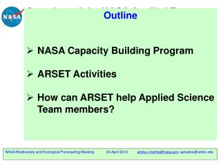 Overview of the NASA Applied Remote Sensing Training  (ARSET)  Program