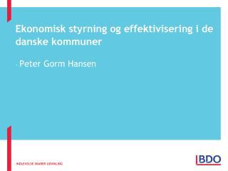 Ekonomisk styrning og effektivisering i de danske kommuner
