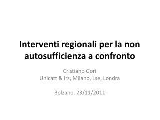 Interventi regionali per la non autosufficienza a confronto
