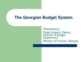 The Georgian Budget System
