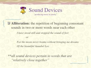 Sound Devices �producing music in poetry�