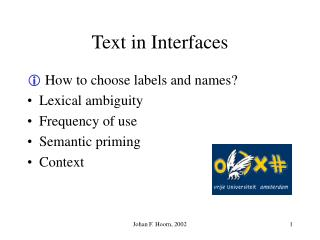 Text  in Interfaces