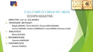 ECHIPA  NOASTRĂ:  DIRECTOR : p rof. ec.  Ana  BADEA PROFESORI   METODIȘTI