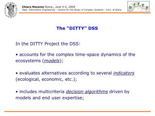 "The  "" DITTY"" DSS In the DITTY Project the DSS:"