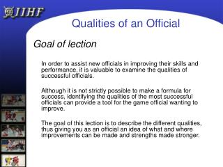 Qualities of an Official