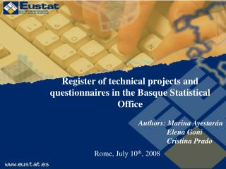 Register of technical projects and questionnaires in the Basque Statistical Office