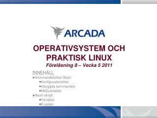 OPERATIVSYSTEM OCH PRAKTISK LINUX Föreläsning 8 – Vecka 5 2011