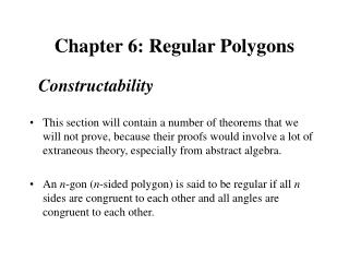 Chapter 6: Regular Polygons
